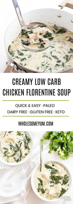 Creamy Chicken Florentine Soup Recipe - This easy, creamy chicken florentine soup recipe is easy to make using just a few common ingredients. Healthy, delicious, and ready in only 20 minutes! Naturally low carb and gluten-free, with options for paleo, dairy-free and whole 30, too.