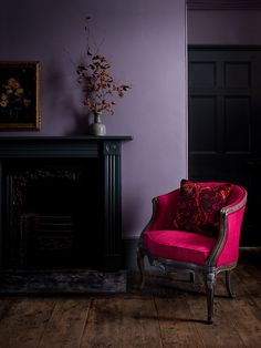 Boudoir Chair in Mistral Fuchsia with Marble Butterfly Cranberry Scatter Cushion