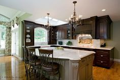 dark cabinets and grey wall  Divine Kitchens LLC - traditional - kitchen - boston - Divine Kitchens LLC