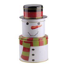 Vendita calda carino pupazzo di neve di natale pieghevole 3 strati cilindro di ferro latta di stoccaggio contenitore di caramella di regalo #78210(China (Mainland))