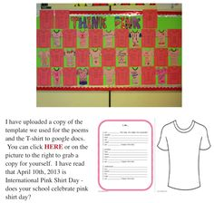 Think Pink poetry and art activity http://www.rundesroom.com/2013/02/think-pink-national-pink-shirt-day.html