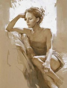 Artist: Paul Hedley {contemporary figurative female beautiful woman sitting by window artwork painting} <3