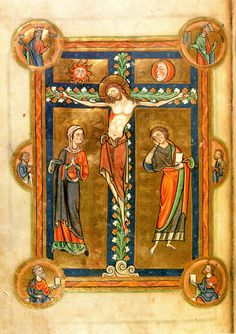 An illumination from a thirteenth-century psalter shows the crucifixion with symbolic details: personifications of the Christian Church and Jewish Synagogue; the sun and moon; St Peter and Moses, with symbolic attributes; and the cross as a tree of life; (Society of Antiquaries Ms 59, fol 35v). (Society of Antiquaries via the University of Cambridge; click through for more)