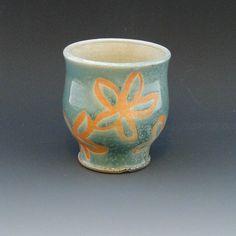 Wood Fired Stoneware Green White Flower Cup Yunomi  Sue Pariseau Pottery  www.suepariseaupottery.blogspot.com