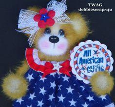 TWAG*DEBBIE*PATRIOTIC BABY GIRL TEAR BEAR PAPER PIECE PREMADE PAGES CARD ALBUM