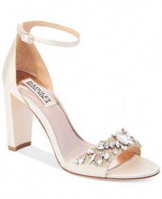 BADGLEY MISCHKA Badgley Mischka Barby Ankle-Strap Evening Sandals. #badgleymischka #shoes # sandals #bridalshoes