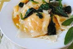 Butternut Squash Ravioli With Sage Butter Sauce #vegan by Veggie Kids (this is my favorite dish from il fornaio, recreated!)