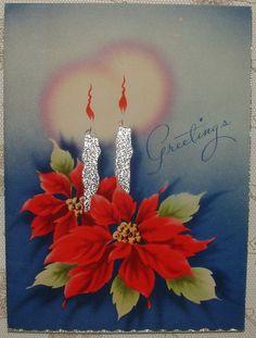 Foil - Christmas Candles - 1940's Vintage Christmas Greeting Card