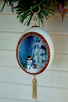 Christmas Ornament Snowman Red Green Gold Real Duck by EggShells, $14.00