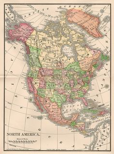 -CatnipStudioCollage-: Free Vintage Clip Art - Map of North America 1901