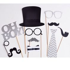 Gentlemen little Man Mustache theme photo booth props on Etsy, $50.00