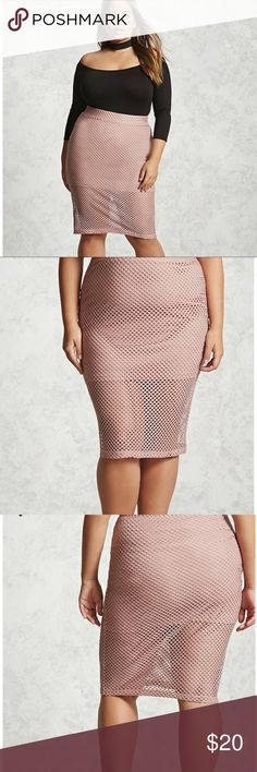 Open Mesh Pencil Skirt A sheer mesh knit skirt featuring an elasticized waistband, a partial lining, and a form fitting silhouette. Never Worn Forever 21 Skirts Pencil