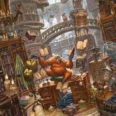 A sumptuous full-colour rendition of the Great Library at Unseen University from Terry Pratchett's Discworld, an exclusive collaboration with David Wyatt! Discworld Books, Discworld Characters, Magical Library, Terry Pratchett Discworld, Library Art, Library Drawing, Fanart, Vash, Fantasy World