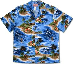 3759eabb1 Ocean Waves and Surf Men's Hawaiian Shirt is Available in Turquoise and Blue.  100%