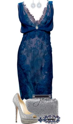 """Blue Lace Dress & Silver Heels"" by jaimie-a on Polyvore so pretty blue and silver!"