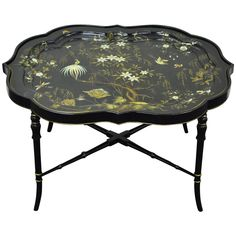 English Scalloped Papier Mâché Hand Painted Tray On Faux Bamboo Table Stand