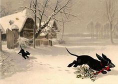 Vintage Christmas Dachshund postcard