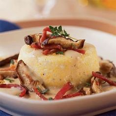 Baked Grits with Country Ham, Wild Mushrooms, Fresh Thyme, and Parmesan | MyRecipes.com Used red pepper flakes, added sage and upped the ham to one cup. Yum!