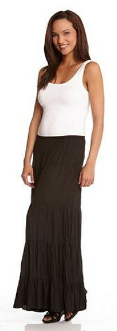 BLACK BOHO CHIC  TIERED SKIRT This tiered skirt from Karen Kane is a perfectly breezy option for those warm summer days. Pull it on with your favorite Super Soft Tank and add a hint of accessories for a casual look with instant cool. #Karen_Kane #Black #Maxi_Skirt #Summer_2014 #Fashion
