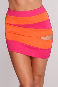 Fuchsia Orange Two Tone Side Cutout Sexy Skirt / Sexy Clubwear Sexy Party Dress, Sexy Dresses, Nice Dresses, Sexy Skirt, Clubwear, Stitching, Mini Skirts, Vogue, Comfy