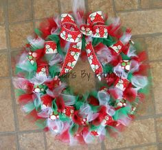 Christmas Tulle Wreath by WreathsByBrittony on Etsy, $35.00