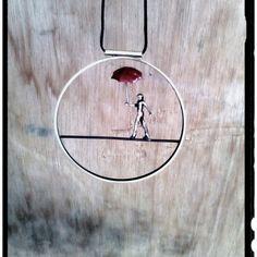 Circle Minimal Necklace Acrobat Figure With by pepeyoyojewellery