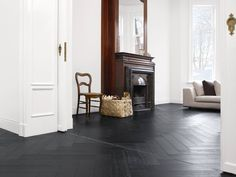 old building in a pure outfit with french oak herringbone Dark Wooden Floor Living Room, Black Wooden Floor, Black Floor, Architectural Floor Plans, Selling Your House, Living Room Interior, Interior Inspiration, Interior Architecture, New Homes