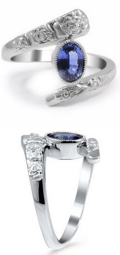 Diamond & Sapphire Ring with Flower Carvings