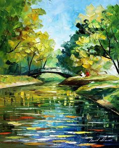 Resting by the bridge — palette knife landscape oil painting on canvas by l Simple Oil Painting, Oil Painting On Canvas, Painting Clouds, Knife Painting, Landscape Art, Landscape Paintings, Oil Paintings, Painting Portraits, Green Landscape