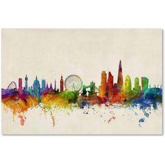 Trademark Fine Art London England Skyline Vii Canvas Art by Michael Tompsett, Size: 22 x 32, Multicolor