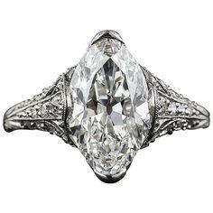 Tiffany and Co. Edwardian 3.14 Carat Marquise Diamond Platinum Ring at 1stdibs
