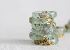 pale seaglass green size 8 thin multifaceted eco resin ring.