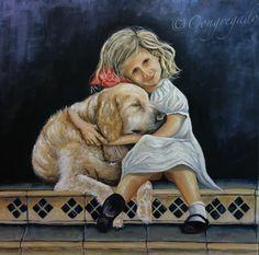 """""""La niña y el perro marca de agua""""  Que belleza en este cuadro de Carlos Congregado"""