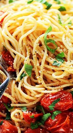 Garlic Parmesan Spaghetti with Blistered Tomatoes