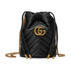 Gucci Gg Marmont Mini Quilted Leather Bucket Bag In Black Chevron, Gucci Handbags, Luxury Handbags, Luxury Bags, Gucci Purses, Designer Handbags, Leather Handbags, Double G, Gucci Gang