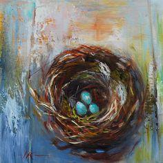 """Olieverfschilderij """"Vogelnestje II"""", maat 14 x 14 cm op paneel te koop voor euro 75,00 + verzendkosten, email mij voor aankoop of info"""