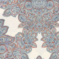 Coral and seafoam scroll where paisley meets damask and eclectic modern meets traditional. This coral & blue paisley damask fabric is available by the yard and on most Loom custom furnishings. Fabric Blinds, Drapery Fabric, Fabric Decor, Fabric Design, Pattern Design, Baroque, Dining Room Drapes, Paisley, Coral Aqua