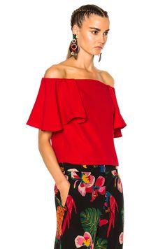 Valentino Off The Shoulder Top in Red | FWRD