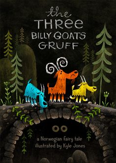Three Billy Goats Gruff on Behance Billy Goats Gruff, Children's Book Illustration, Animal Illustrations, Vintage Illustrations, Kids Story Books, Legends And Myths, Conte, In This World, Childrens Books