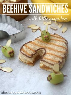 Honey Wheat Peanut Butter, Banana and Honey Sammies with little Grape Bees