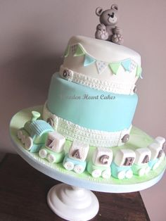 Christening cake with knitted effect blocks - Cake by Wooden Heart Cakes