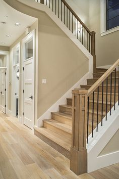 """Benjamin Moore """"Bleeker Beige"""" for paint. Love the staircase too! Villa Plan, Design Case, My Dream Home, Home Projects, Home Remodeling, Bedroom Remodeling, Architecture Design, House Plans, Home And Family"""