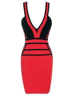 V Neck Cut Out Sexy Bandage Dress . Shop Now At http://misscircle.com/Bandage-Dresses/Color-Contrast/V-Neck-Cut-Out-Sexy-Bandage-Dress.html