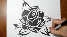 Have fun drawing from these 50 selected rose drawing tutorials. Each How to Draw a Rose tutorial has easy step by step instructions or a video tutorial. Tribal Rose Tattoos, Tribal Tattoo Designs, Tattoo Drawings, Cool Drawings, Sharpie Pens, Tribal Art, Learn To Draw, Art Sketches, Cool Stuff