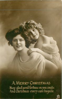 Vintage Christmas photo postcard, Grete Reinwald and her mother.