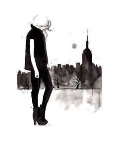 Original watercolor and pen fashion illustration by Jessica Durrant titled Empire state of mind. $185.00, via Etsy.