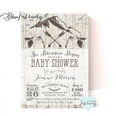 Camp Baby Shower Invitation // Adventure Baby Boy Shower Invite Outdoor Birch…