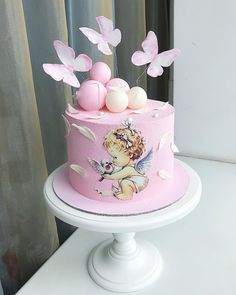 На данном изображении может находиться: растение и цветок Fondant Toppers, Fondant Cakes, Pretty Cakes, Beautiful Cakes, Christian Cakes, Quinceanera Cakes, Angel Cake, Painted Cakes, Little Cakes