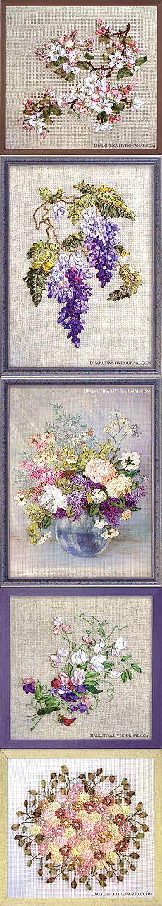Цветочное очарование вышивки лентами - Рукоделие