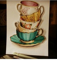 "Paper tole ""cups of tea"""